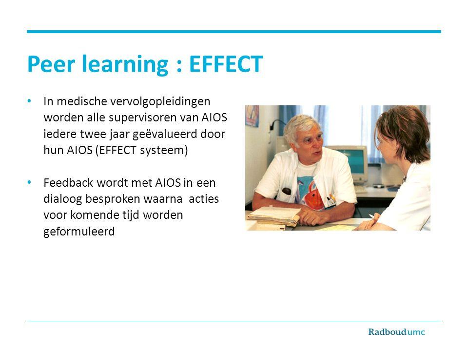 Peer learning : EFFECT In medische vervolgopleidingen worden alle supervisoren van AIOS iedere twee jaar geëvalueerd door hun AIOS (EFFECT systeem) Fe