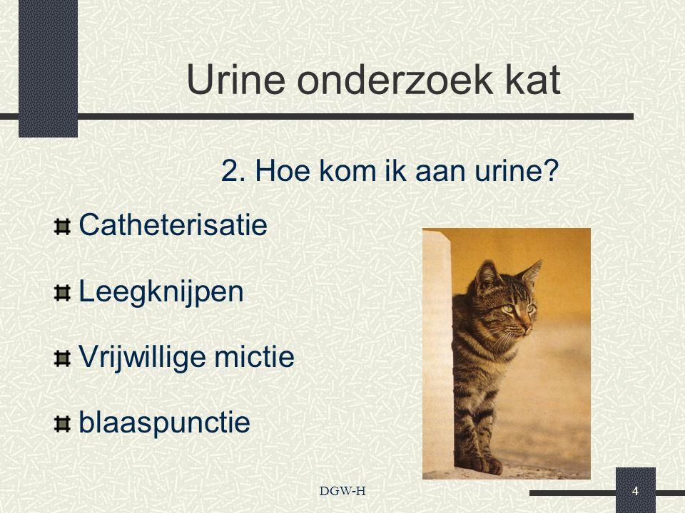 Urine onderzoek kat Catheterisatie Leegknijpen Vrijwillige mictie blaaspunctie 2. Hoe kom ik aan urine? DGW-H4