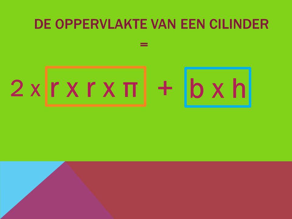 DE OPPERVLAKTE VAN EEN CILINDER = b x h + r x r x π 2 x