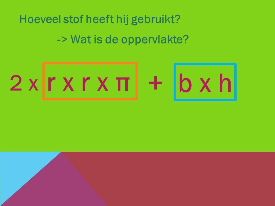 Hoeveel stof heeft hij gebruikt? -> Wat is de oppervlakte? b x h + r x r x π 2 x