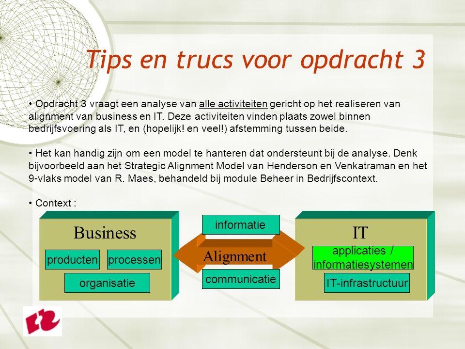 Tips en trucs voor opdracht 3 Opdracht 3 vraagt een analyse van alle activiteiten gericht op het realiseren van alignment van business en IT.