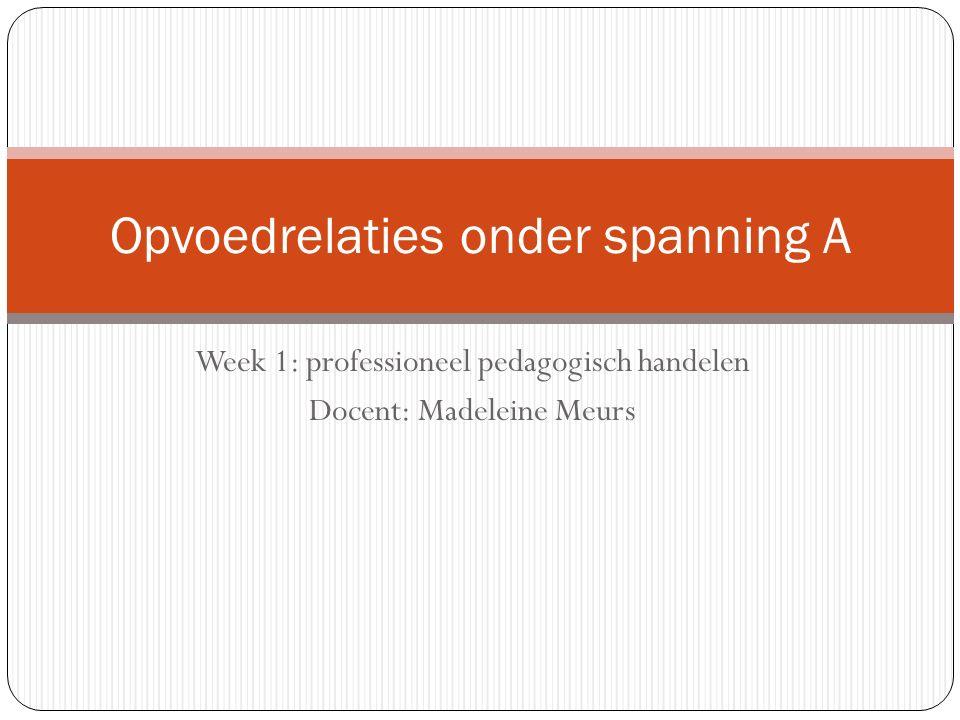 Week 1: professioneel pedagogisch handelen Docent: Madeleine Meurs Opvoedrelaties onder spanning A