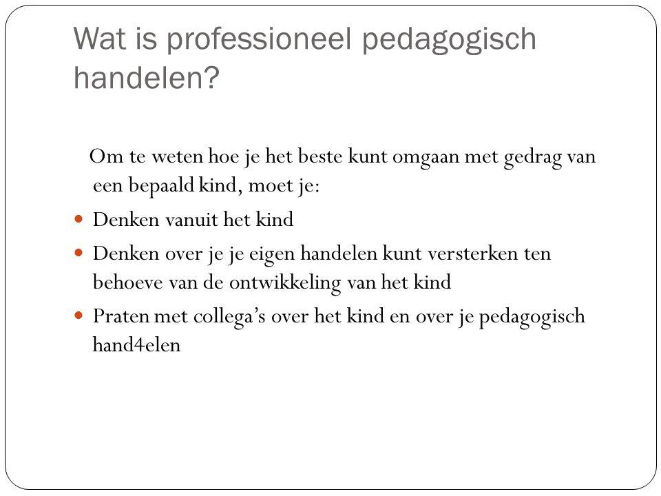 Wat is professioneel pedagogisch handelen? Om te weten hoe je het beste kunt omgaan met gedrag van een bepaald kind, moet je: Denken vanuit het kind D