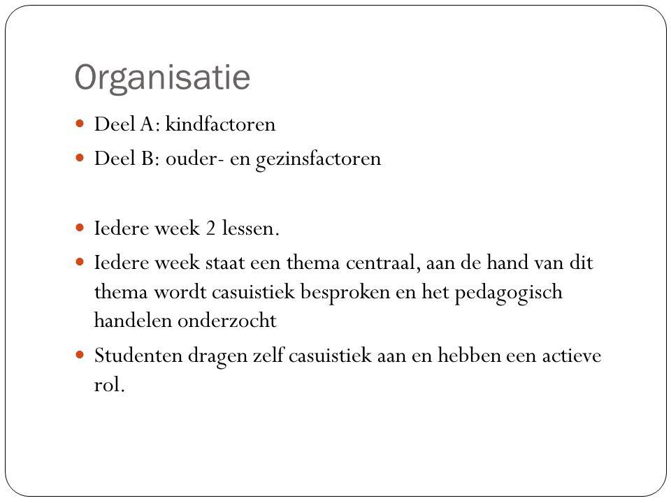 Organisatie Deel A: kindfactoren Deel B: ouder- en gezinsfactoren Iedere week 2 lessen. Iedere week staat een thema centraal, aan de hand van dit them
