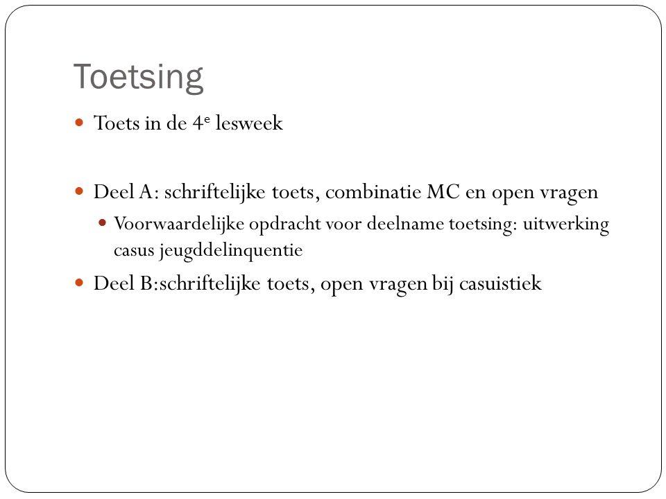 Toetsing Toets in de 4 e lesweek Deel A: schriftelijke toets, combinatie MC en open vragen Voorwaardelijke opdracht voor deelname toetsing: uitwerking
