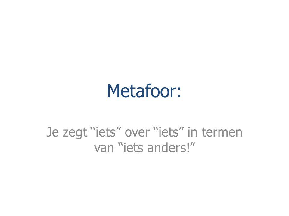 """Metafoor: Je zegt """"iets"""" over """"iets"""" in termen van """"iets anders!"""""""