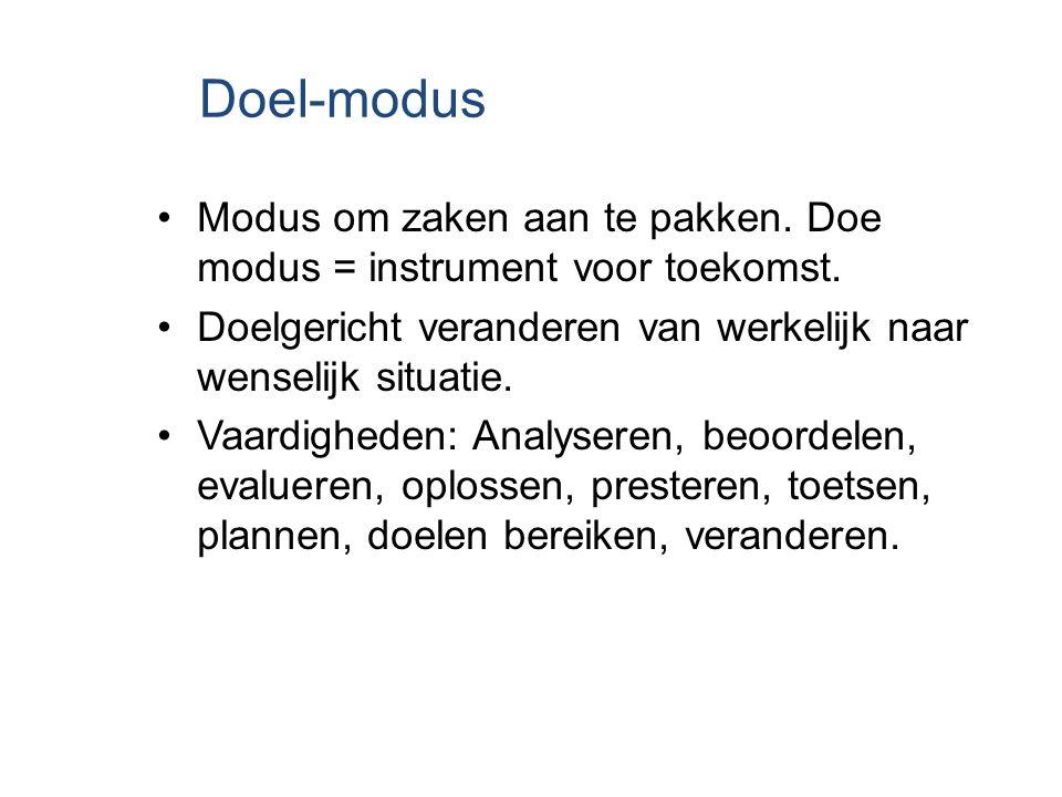 Doel-modus Modus om zaken aan te pakken. Doe modus = instrument voor toekomst. Doelgericht veranderen van werkelijk naar wenselijk situatie. Vaardighe