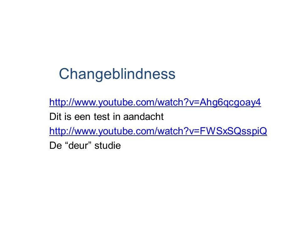 "Changeblindness http://www.youtube.com/watch?v=Ahg6qcgoay4 Dit is een test in aandacht http://www.youtube.com/watch?v=FWSxSQsspiQ De ""deur"" studie"