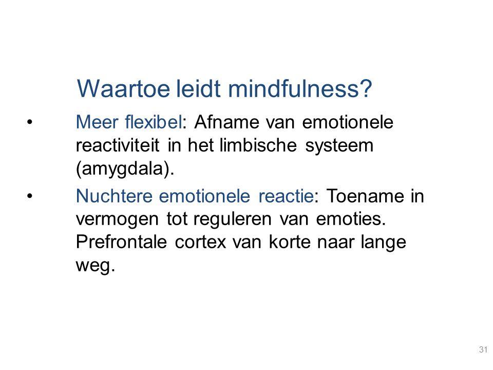 31 Waartoe leidt mindfulness? Meer flexibel: Afname van emotionele reactiviteit in het limbische systeem (amygdala). Nuchtere emotionele reactie: Toen