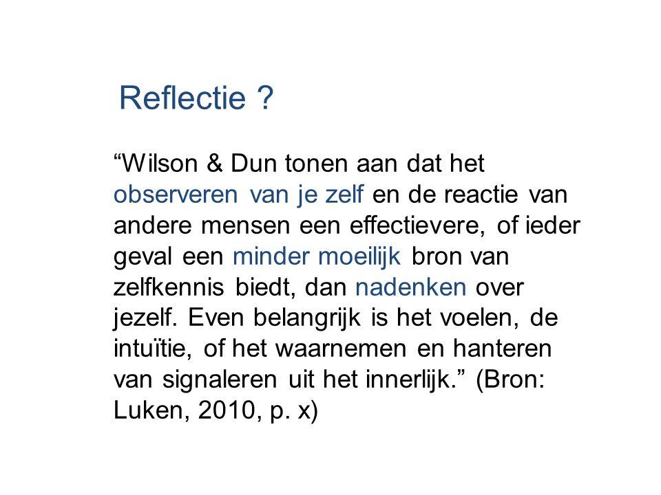 """Reflectie ? """"Wilson & Dun tonen aan dat het observeren van je zelf en de reactie van andere mensen een effectievere, of ieder geval een minder moeilij"""