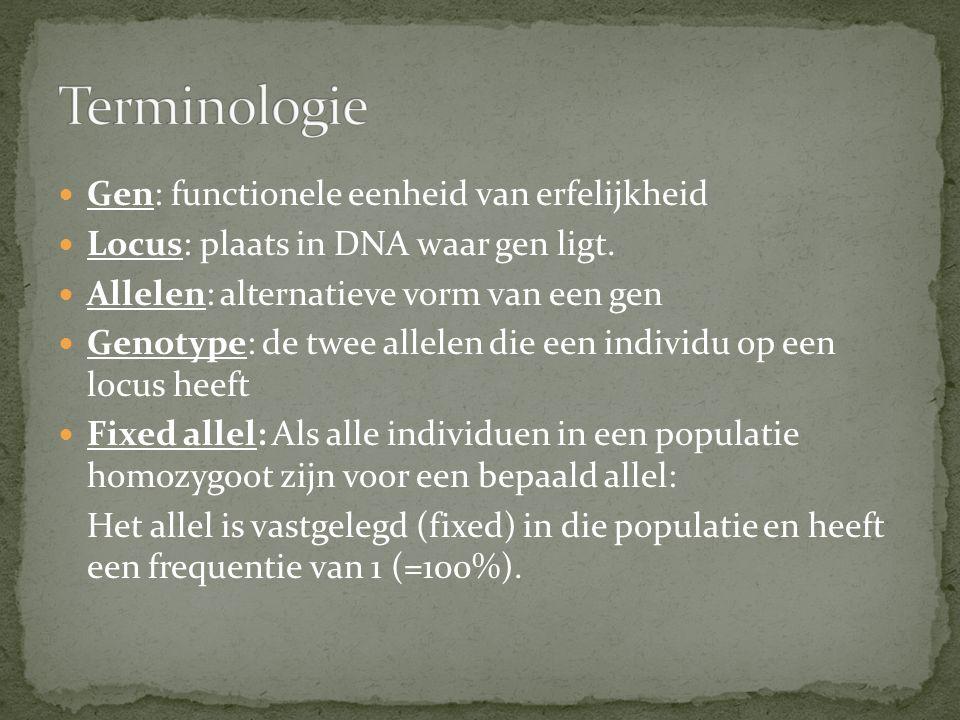 Gen: functionele eenheid van erfelijkheid Locus: plaats in DNA waar gen ligt. Allelen: alternatieve vorm van een gen Genotype: de twee allelen die een