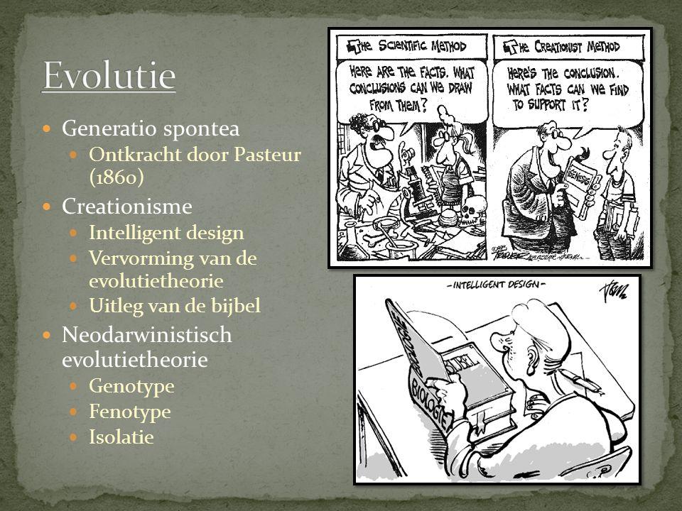 Generatio spontea Ontkracht door Pasteur (1860) Creationisme Intelligent design Vervorming van de evolutietheorie Uitleg van de bijbel Neodarwinistisch evolutietheorie Genotype Fenotype Isolatie