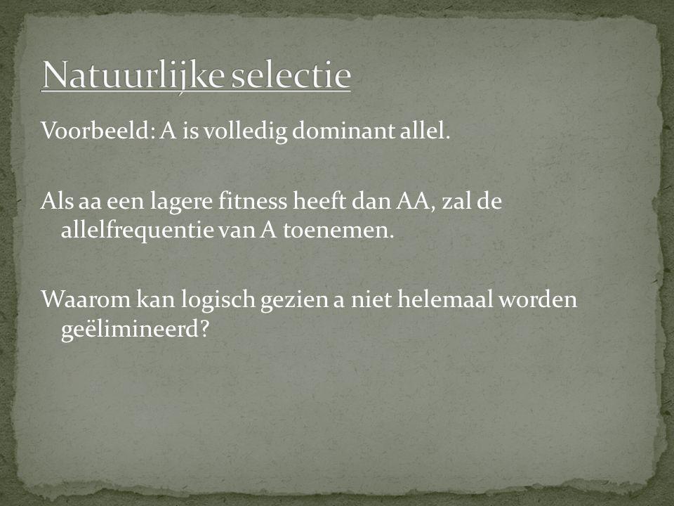 Voorbeeld: A is volledig dominant allel. Als aa een lagere fitness heeft dan AA, zal de allelfrequentie van A toenemen. Waarom kan logisch gezien a ni