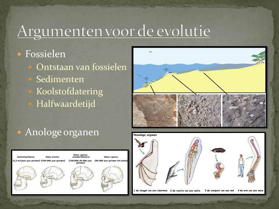Fossielen Ontstaan van fossielen Sedimenten Koolstofdatering Halfwaardetijd Anologe organen