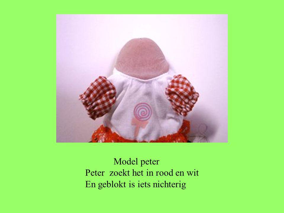 Model peter Peter zoekt het in rood en wit En geblokt is iets nichterig