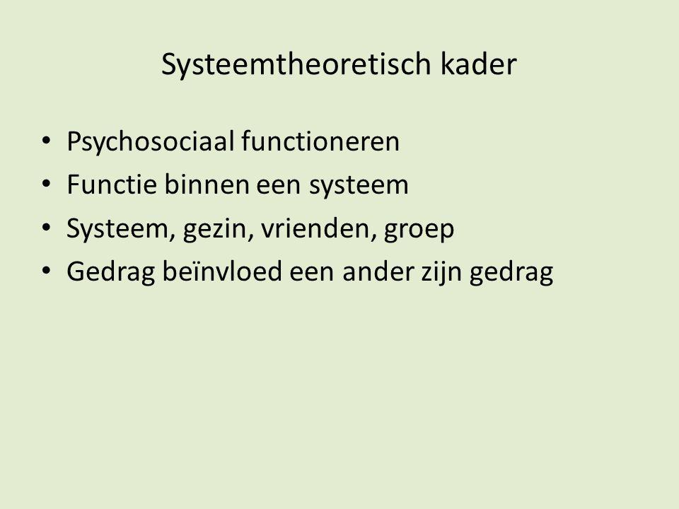 Systeemtheoretisch kader Psychosociaal functioneren Functie binnen een systeem Systeem, gezin, vrienden, groep Gedrag beïnvloed een ander zijn gedrag