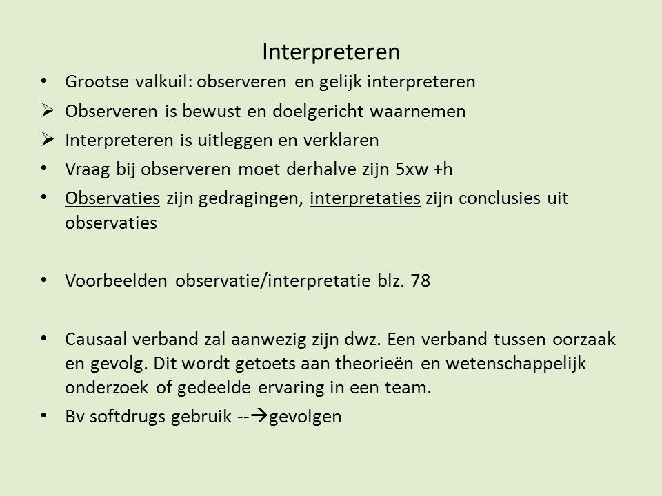 Interpreteren Grootse valkuil: observeren en gelijk interpreteren  Observeren is bewust en doelgericht waarnemen  Interpreteren is uitleggen en verk