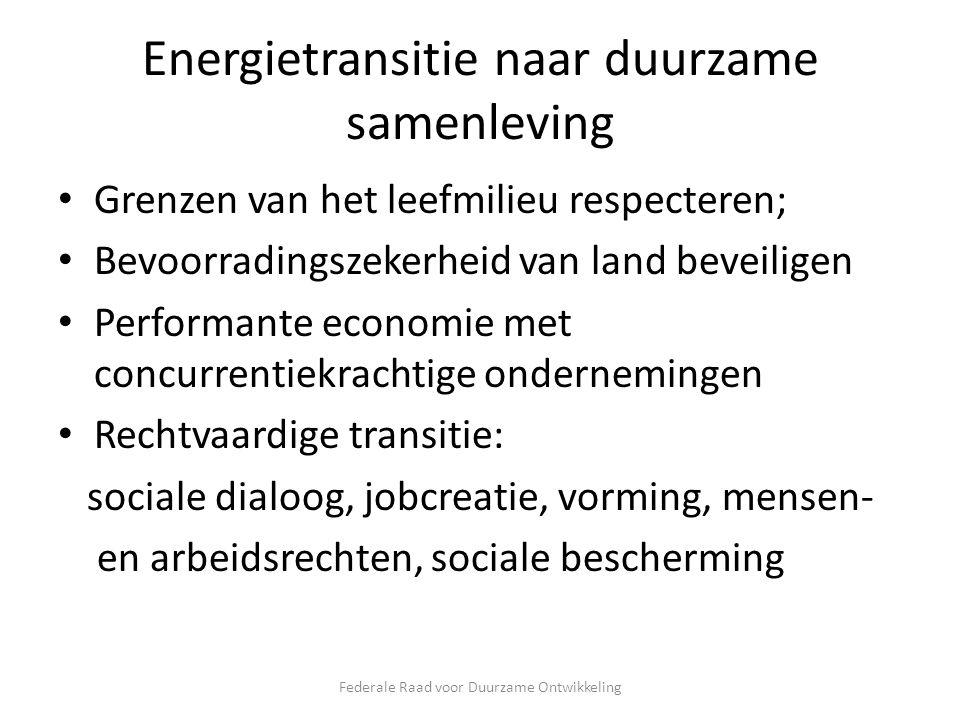Energietransitie naar duurzame samenleving Grenzen van het leefmilieu respecteren; Bevoorradingszekerheid van land beveiligen Performante economie met concurrentiekrachtige ondernemingen Rechtvaardige transitie: sociale dialoog, jobcreatie, vorming, mensen- en arbeidsrechten, sociale bescherming Federale Raad voor Duurzame Ontwikkeling