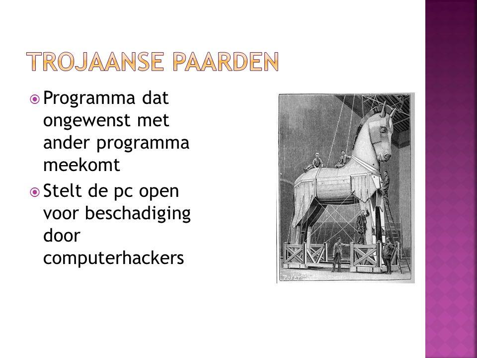 Wormen Speciale virussen Verspreiden zich razendsnel via e-mail of peer- to-peernetwerken (b.v.