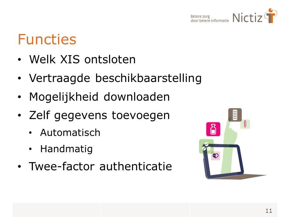 Functies Welk XIS ontsloten Vertraagde beschikbaarstelling Mogelijkheid downloaden Zelf gegevens toevoegen Automatisch Handmatig Twee-factor authenticatie 11