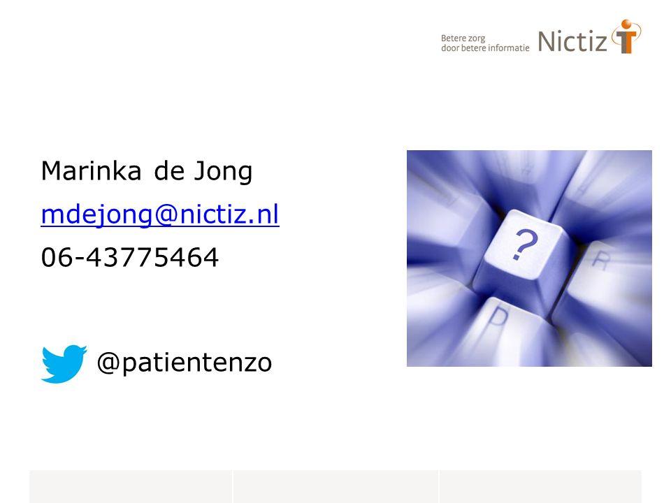 Marinka de Jong mdejong@nictiz.nl 06-43775464 @patientenzo