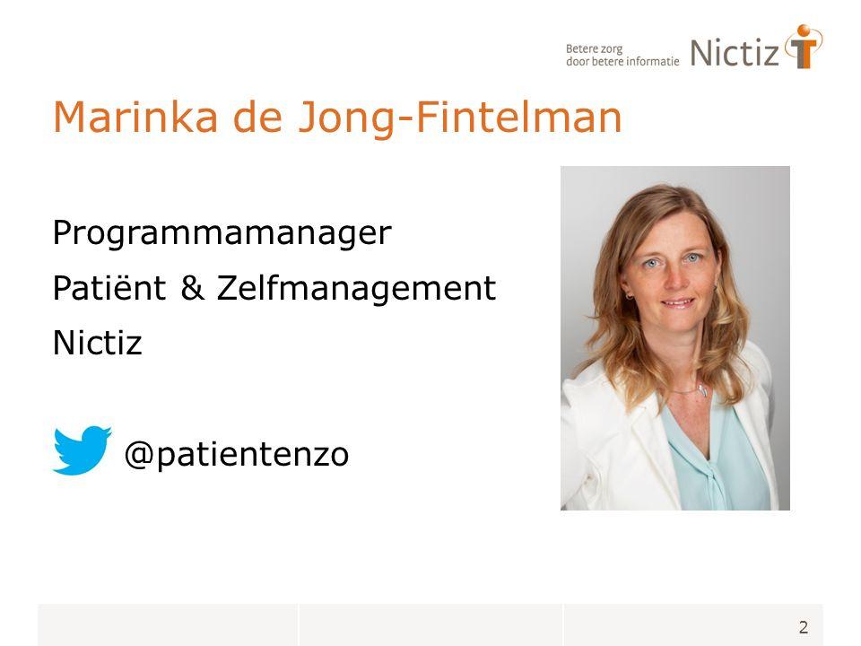 Marinka de Jong-Fintelman Programmamanager Patiënt & Zelfmanagement Nictiz @patientenzo 2