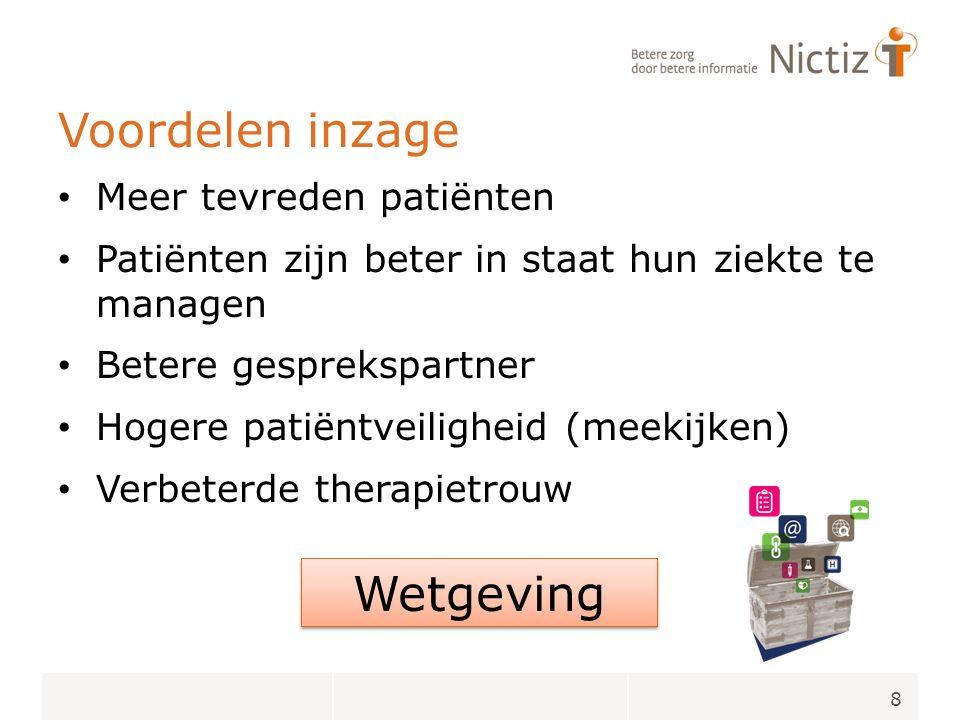 Voordelen inzage Meer tevreden patiënten Patiënten zijn beter in staat hun ziekte te managen Betere gesprekspartner Hogere patiëntveiligheid (meekijken) Verbeterde therapietrouw 8 Wetgeving