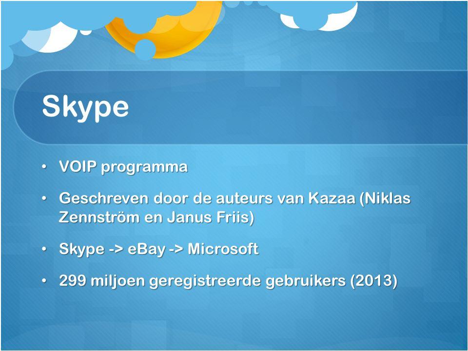 Skype VOIP programma VOIP programma Geschreven door de auteurs van Kazaa (Niklas Zennström en Janus Friis) Geschreven door de auteurs van Kazaa (Nikla