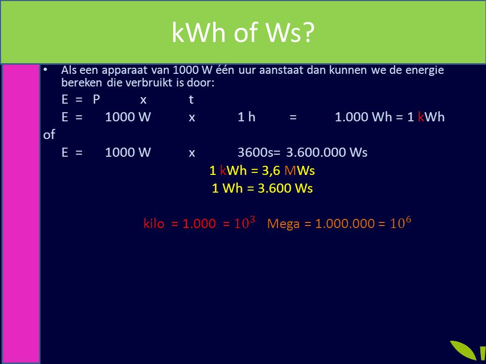 kWh of Ws?
