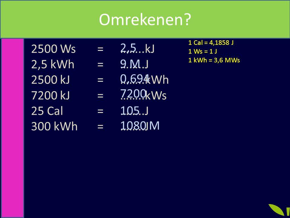 1 Cal = 4,1858 J 1 Ws = 1 J 1 kWh = 3,6 MWs 2500 Ws 2,5 kWh 2500 kJ 7200 kJ 25 Cal 300 kWh ============ ……..kJ ……..J ……..kWh ……..kWs ……..J Grootheden,