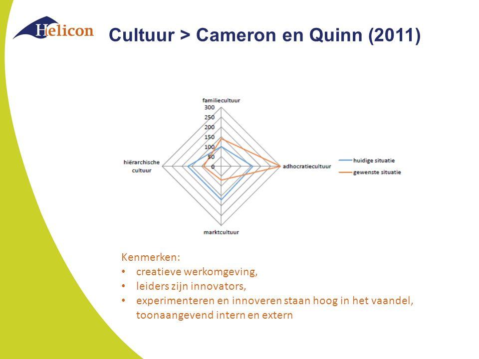 Kenmerken: creatieve werkomgeving, leiders zijn innovators, experimenteren en innoveren staan hoog in het vaandel, toonaangevend intern en extern Cultuur > Cameron en Quinn (2011)