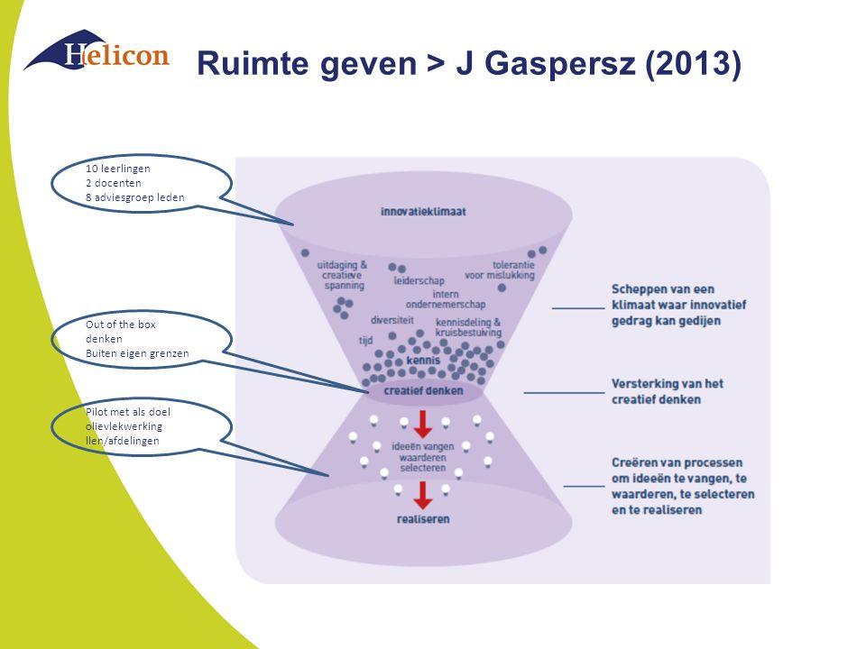 Ruimte geven > J Gaspersz (2013) 10 leerlingen 2 docenten 8 adviesgroep leden Out of the box denken Buiten eigen grenzen Pilot met als doel olievlekwerking llen/afdelingen