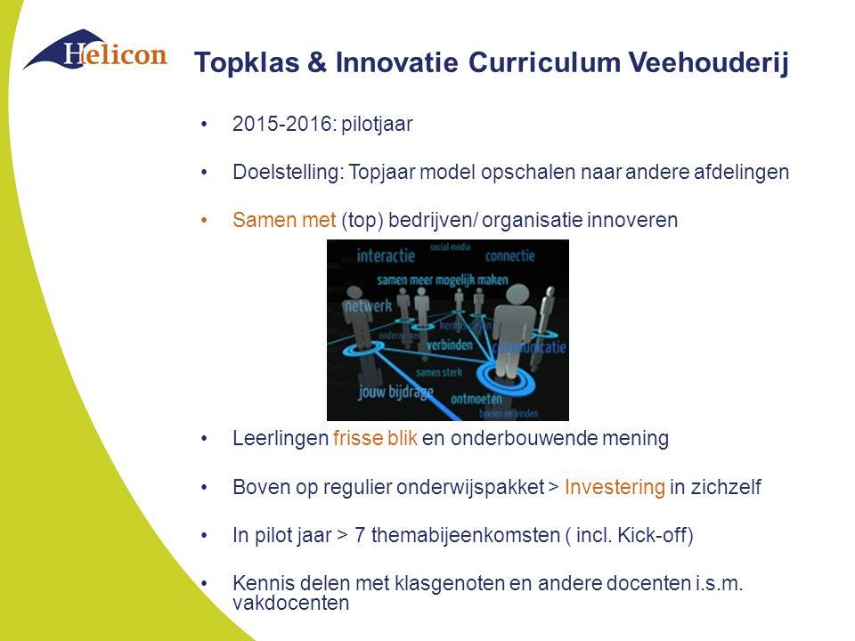 Topklas & Innovatie Curriculum Veehouderij 2015-2016: pilotjaar Doelstelling: Topjaar model opschalen naar andere afdelingen Samen met (top) bedrijven/ organisatie innoveren Leerlingen frisse blik en onderbouwende mening Boven op regulier onderwijspakket > Investering in zichzelf In pilot jaar > 7 themabijeenkomsten ( incl.