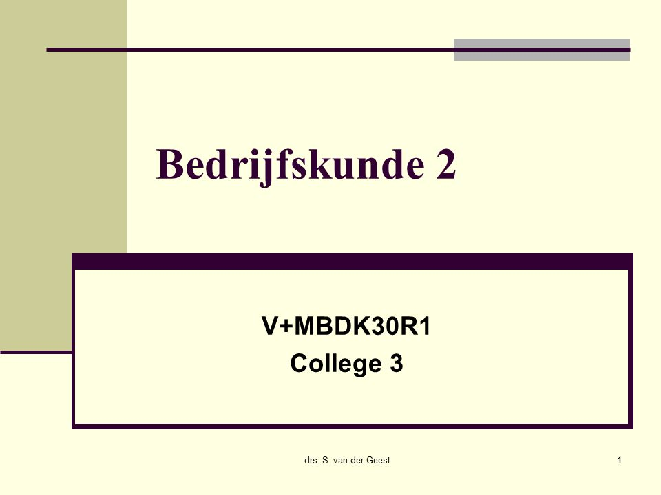 14/12/2015 drs. Sander van der Geest22 Behoefte piramide MaslowMas
