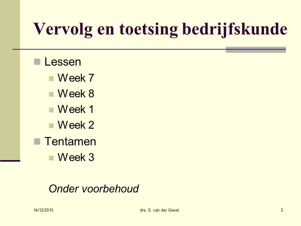 Beloningsbeleid en ethiek 14/12/2015 drs. S. van der Geest33