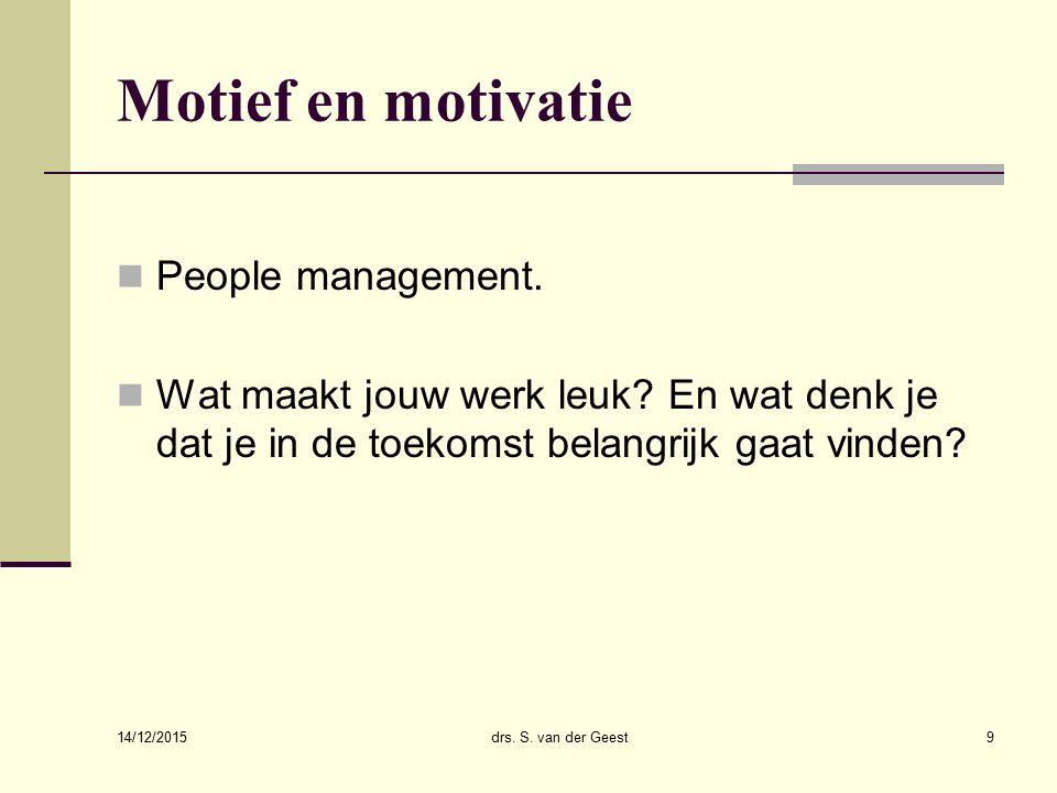 14/12/2015 drs. Sander van der Geest30 Relatie personeelsinstrumenten en strategisch management