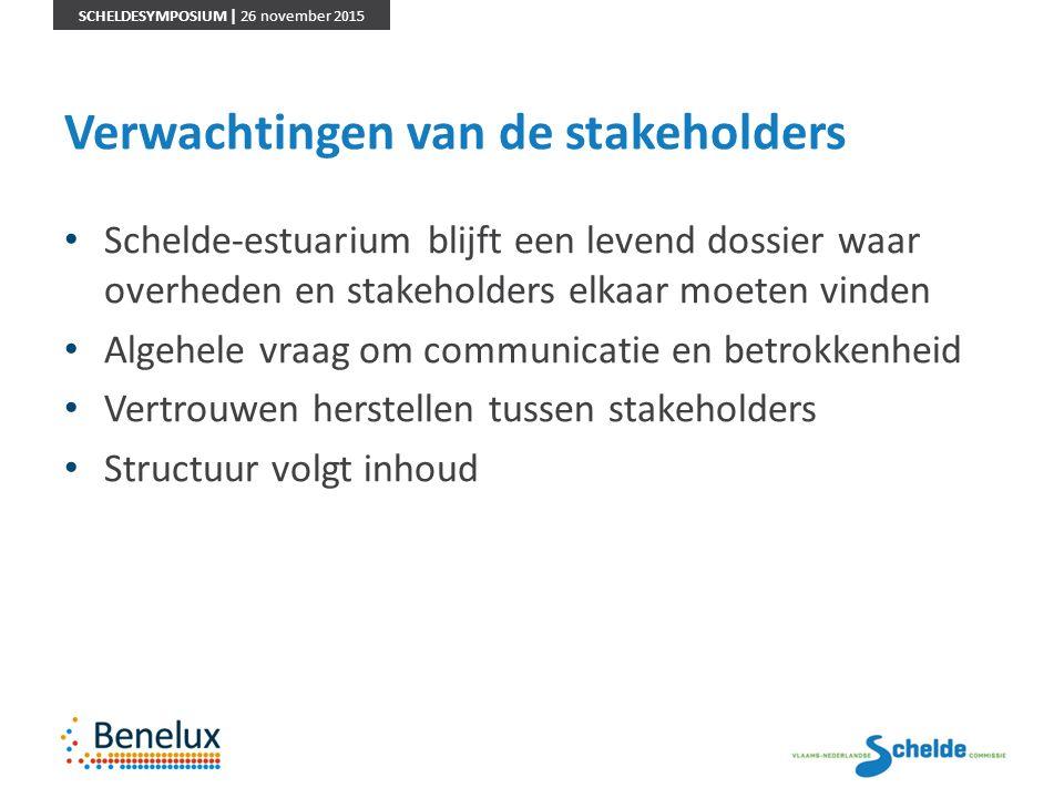 SCHELDESYMPOSIUM | 26 november 2015 Verwachtingen van de stakeholders Schelde-estuarium blijft een levend dossier waar overheden en stakeholders elkaa