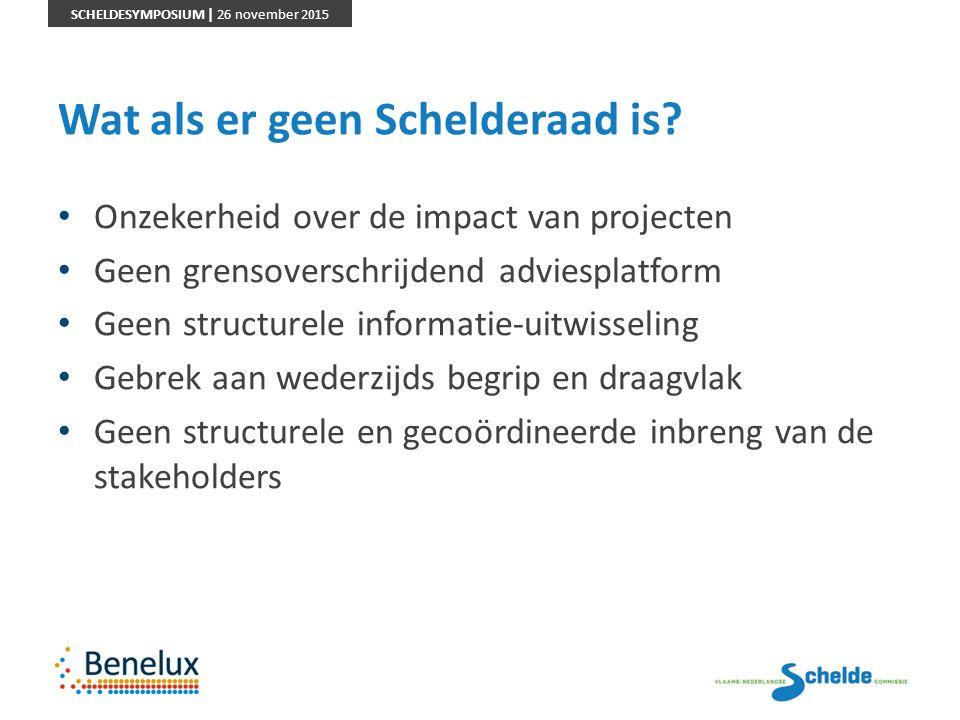 SCHELDESYMPOSIUM | 26 november 2015 Wat als er geen Schelderaad is? Onzekerheid over de impact van projecten Geen grensoverschrijdend adviesplatform G