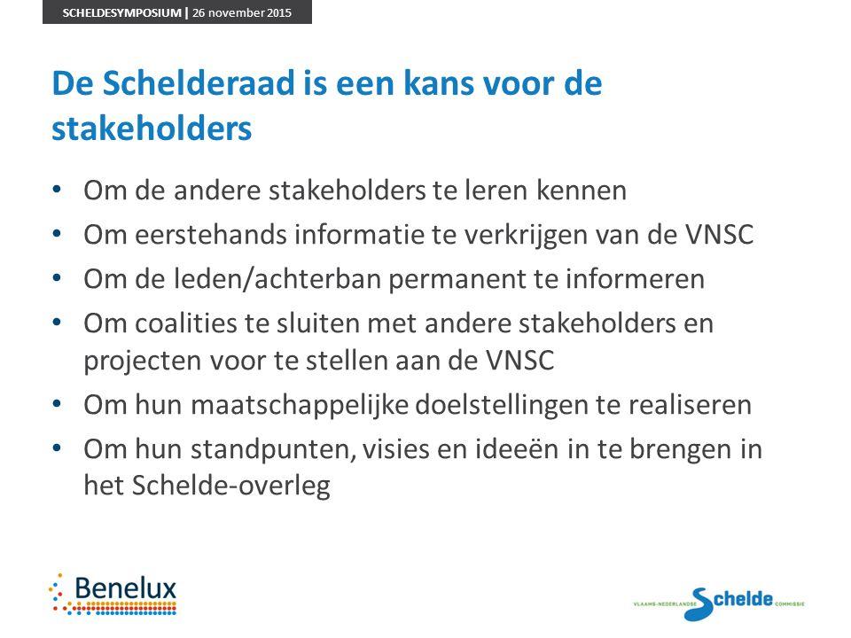 SCHELDESYMPOSIUM | 26 november 2015 De Schelderaad is een kans voor de stakeholders Om de andere stakeholders te leren kennen Om eerstehands informati