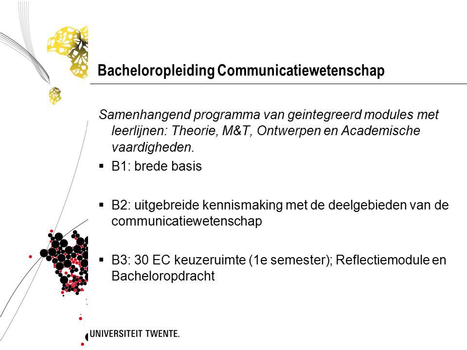 Bacheloropleiding Communicatiewetenschap Samenhangend programma van geintegreerd modules met leerlijnen: Theorie, M&T, Ontwerpen en Academische vaardigheden.