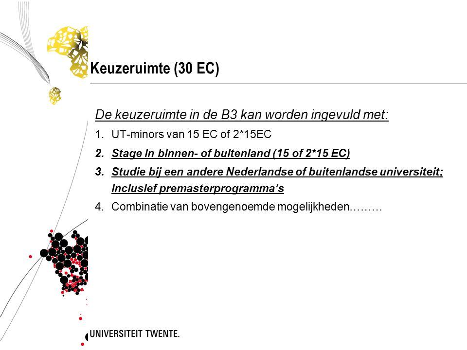 Vakken/onderdelen B3 met verplichte voorkennis UT-minors90 EC behaald Studeren andere universiteit in Nederland 90 EC behaald Studeren in buitenlandB1 en B2 afgerond StageB1 en B2 afgerond BacheloropdrachtB1 en B2 afgerond