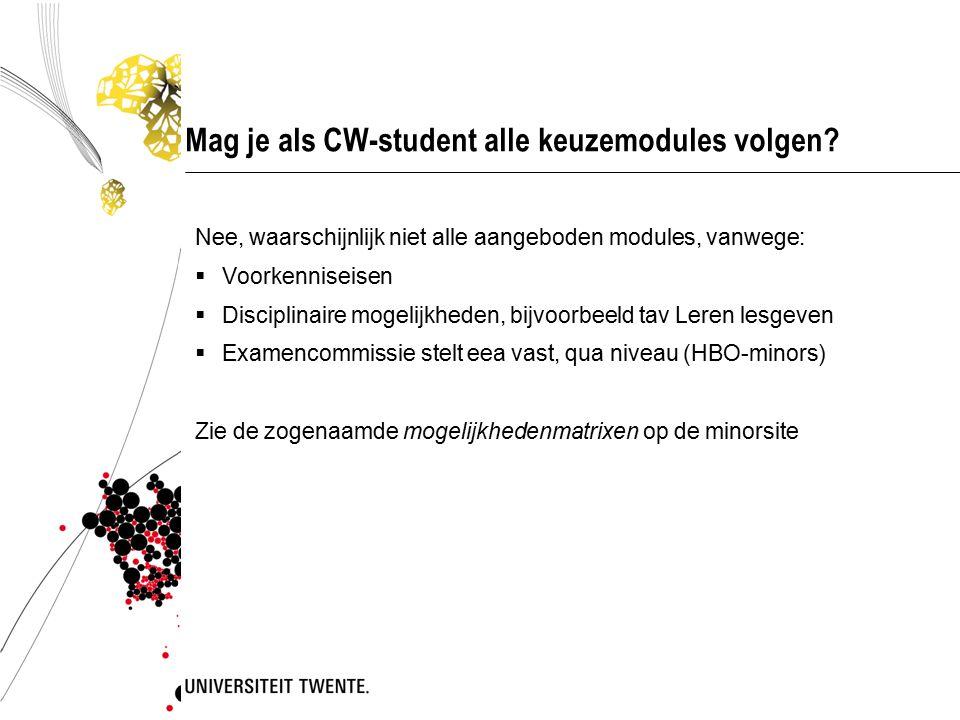 Mag je als CW-student alle keuzemodules volgen.