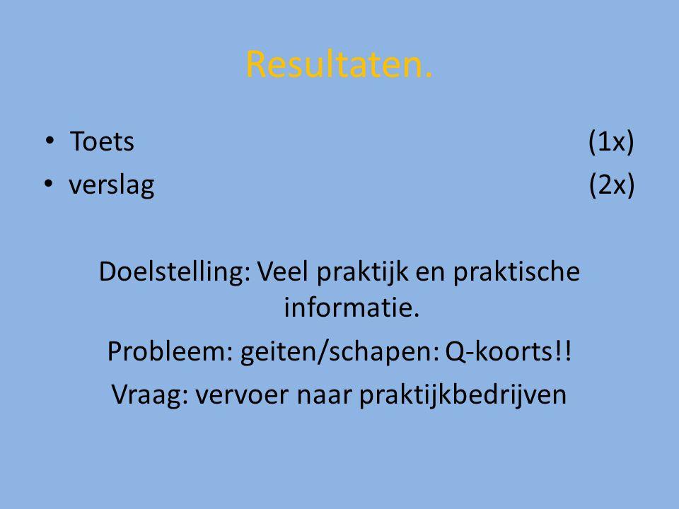 Resultaten. Toets(1x) verslag (2x) Doelstelling: Veel praktijk en praktische informatie. Probleem: geiten/schapen: Q-koorts!! Vraag: vervoer naar prak
