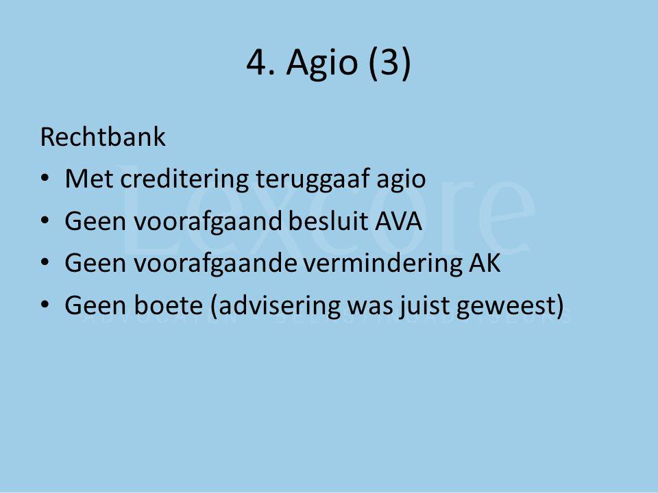 4. Agio (3) Rechtbank Met creditering teruggaaf agio Geen voorafgaand besluit AVA Geen voorafgaande vermindering AK Geen boete (advisering was juist g
