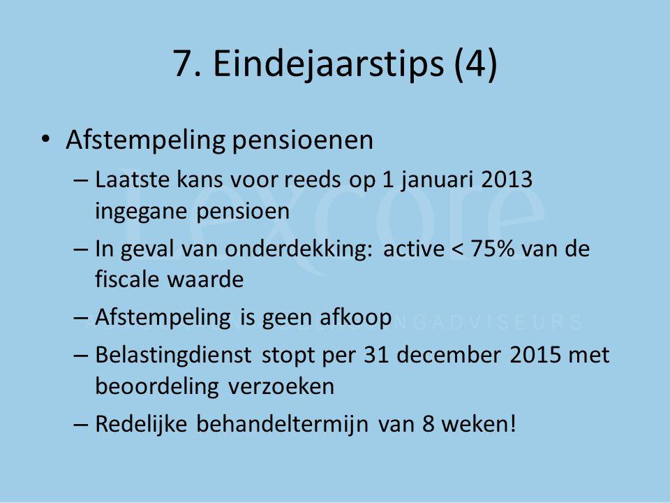 7. Eindejaarstips (4) Afstempeling pensioenen – Laatste kans voor reeds op 1 januari 2013 ingegane pensioen – In geval van onderdekking: active < 75%