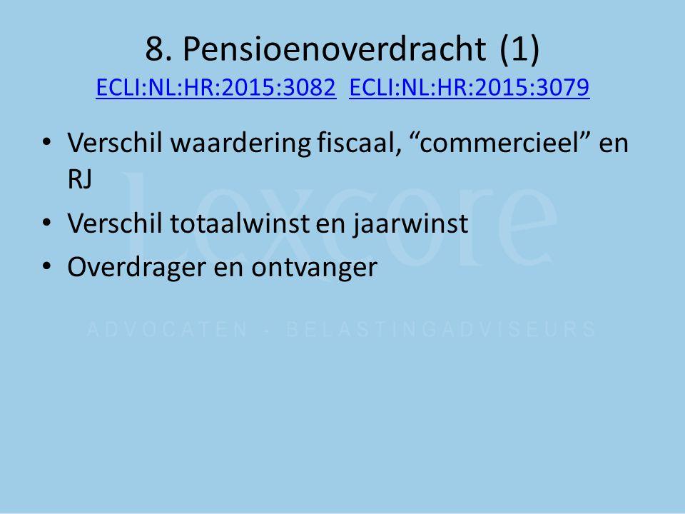 "8. Pensioenoverdracht (1) ECLI:NL:HR:2015:3082 ECLI:NL:HR:2015:3079 ECLI:NL:HR:2015:3082ECLI:NL:HR:2015:3079 Verschil waardering fiscaal, ""commercieel"