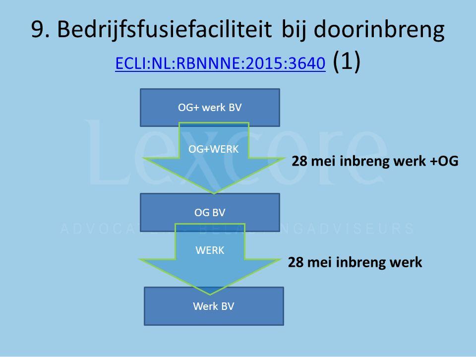 9. Bedrijfsfusiefaciliteit bij doorinbreng ECLI:NL:RBNNNE:2015:3640 (1) ECLI:NL:RBNNNE:2015:3640 OG+ werk BV OG BV Werk BV OG+WERK WERK 28 mei inbreng