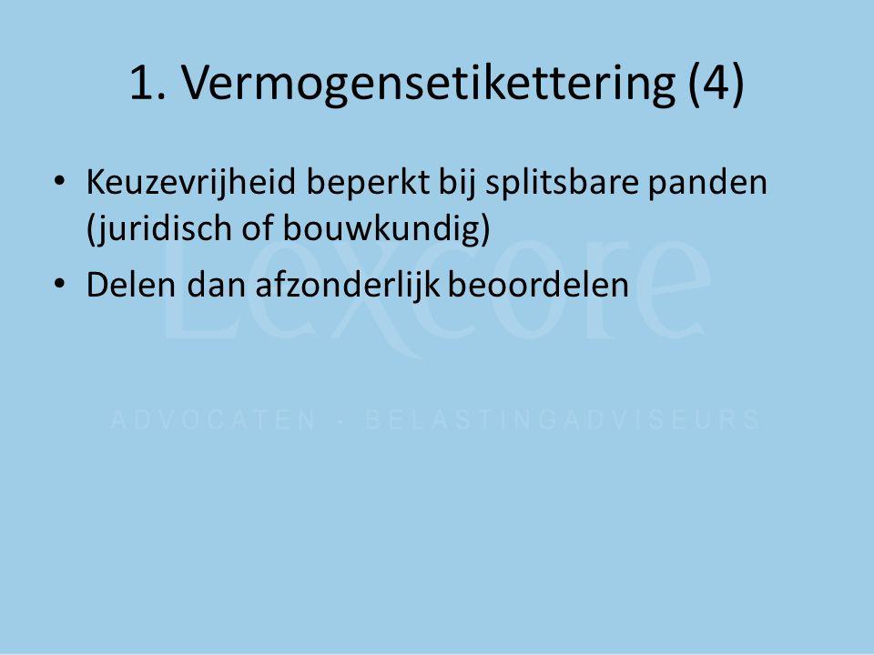 1. Vermogensetikettering (4) Keuzevrijheid beperkt bij splitsbare panden (juridisch of bouwkundig) Delen dan afzonderlijk beoordelen