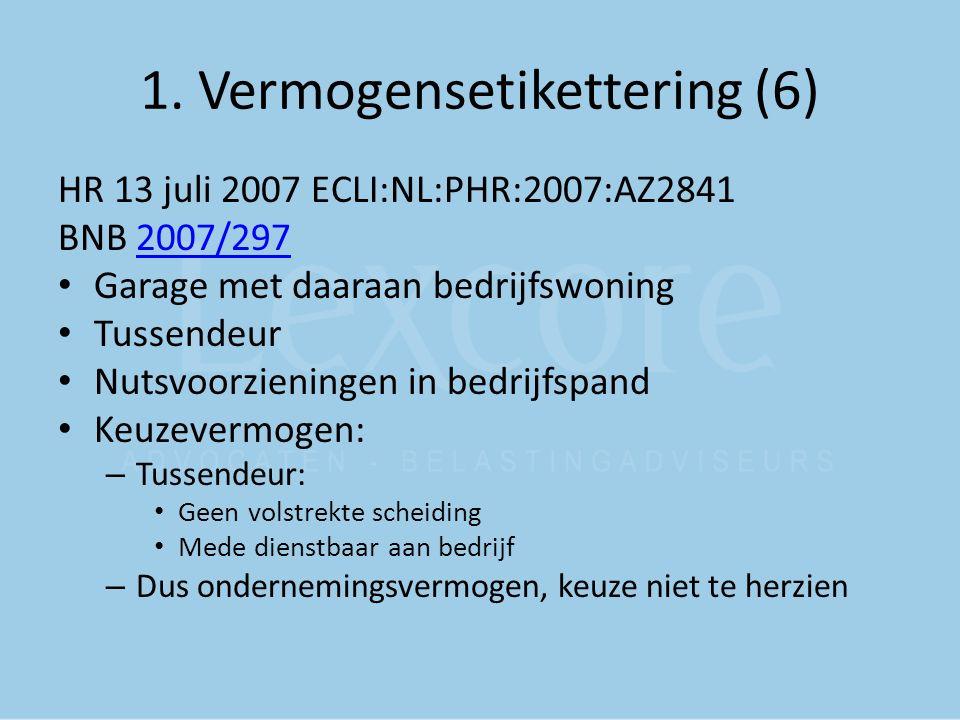 1. Vermogensetikettering (6) HR 13 juli 2007 ECLI:NL:PHR:2007:AZ2841 BNB 2007/2972007/297 Garage met daaraan bedrijfswoning Tussendeur Nutsvoorziening