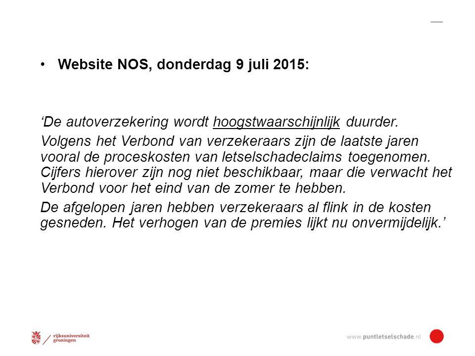 Website NOS, donderdag 9 juli 2015: 'De autoverzekering wordt hoogstwaarschijnlijk duurder.